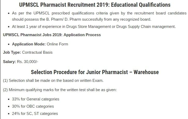 UPMSCL Vacancy 2019 - Apply Online For Pharmacist
